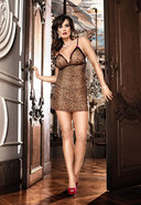 Two Piece Chemise Set Leopard - D (disc)